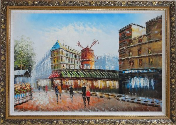 Framed The Moulin Rouge in Paris of France Oil Painting Cityscape Impressionism Ornate Antique Dark Gold Wood Frame 30 x 42 Inches
