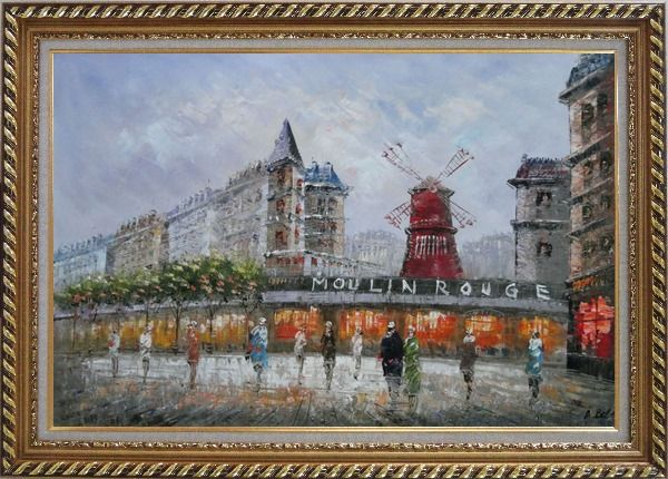 Framed The Moulin Rouge At Night Oil Painting Cityscape France Impressionism Exquisite Gold Wood Frame 30 x 42 Inches