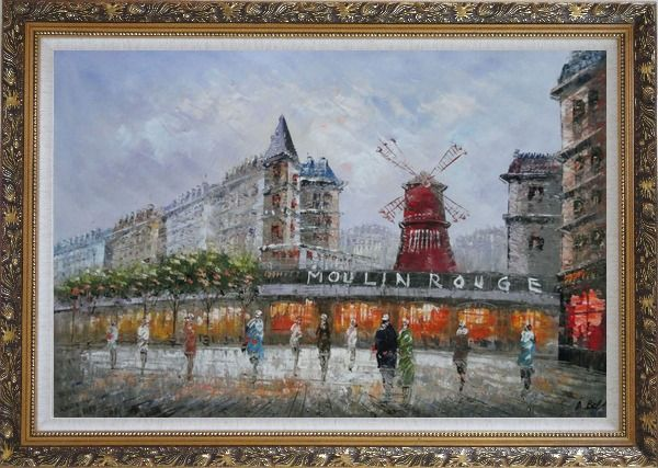 Framed The Moulin Rouge At Night Oil Painting Cityscape France Impressionism Ornate Antique Dark Gold Wood Frame 30 x 42 Inches