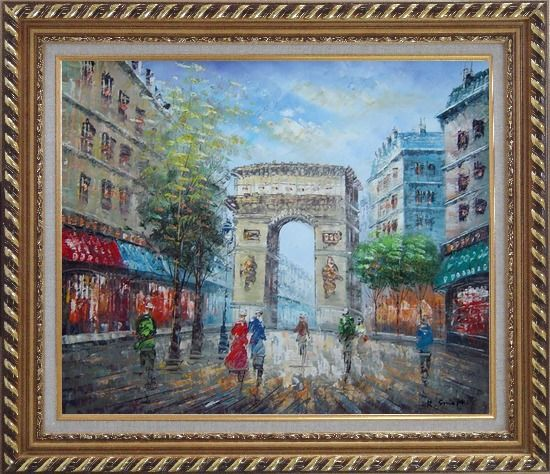 Framed Twilight At Arc de Triomphe of Paris Oil Painting Cityscape France Impressionism Exquisite Gold Wood Frame 26 x 30 Inches