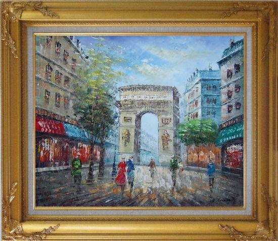 Framed Twilight At Arc de Triomphe of Paris Oil Painting Cityscape France Impressionism Gold Wood Frame with Deco Corners 27 x 31 Inches