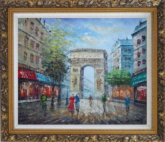 Framed Twilight At Arc de Triomphe of Paris Oil Painting Cityscape France Impressionism Ornate Antique Dark Gold Wood Frame 26 x 30 Inches