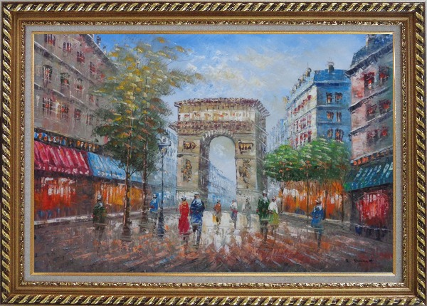Framed Twilight At Arc De Triomphe of Paris Oil Painting Cityscape France Impressionism Exquisite Gold Wood Frame 30 x 42 Inches