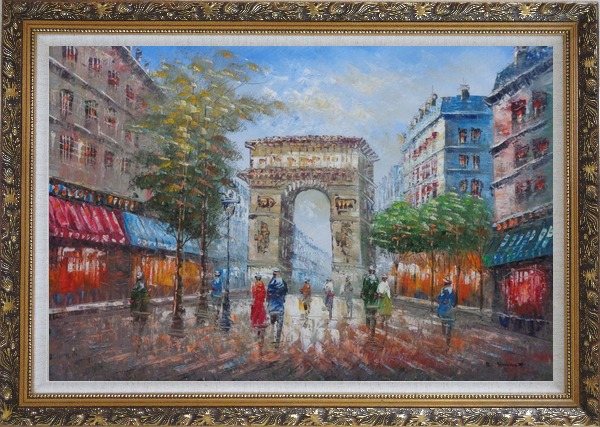 Framed Twilight At Arc De Triomphe of Paris Oil Painting Cityscape France Impressionism Ornate Antique Dark Gold Wood Frame 30 x 42 Inches