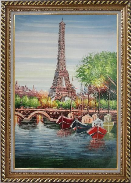 Framed Small Boats, Eiffel Tower And Seine River With Bridge, Paris Oil Painting Cityscape France Impressionism Exquisite Gold Wood Frame 42 x 30 Inches