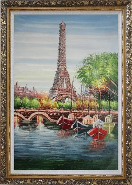 Framed Small Boats, Eiffel Tower And Seine River With Bridge, Paris Oil Painting Cityscape France Impressionism Ornate Antique Dark Gold Wood Frame 42 x 30 Inches