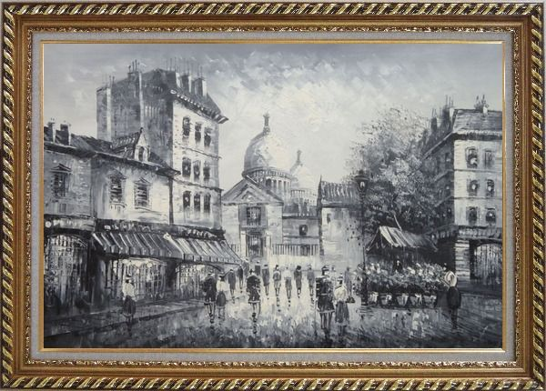 Framed Black and White Paris Street Junction Scene Oil Painting Cityscape Impressionism Exquisite Gold Wood Frame 30 x 42 Inches