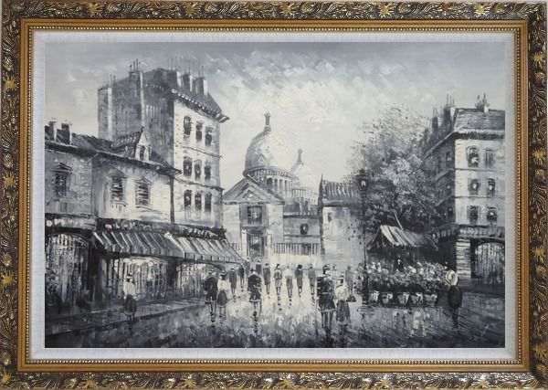 Framed Black and White Paris Street Junction Scene Oil Painting Cityscape Impressionism Ornate Antique Dark Gold Wood Frame 30 x 42 Inches