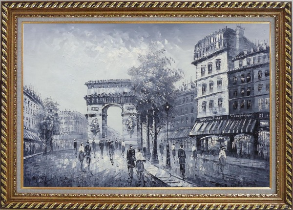 Framed Black White Paris Street to Triumphal Arch Oil Painting Cityscape France Impressionism Exquisite Gold Wood Frame 30 x 42 Inches