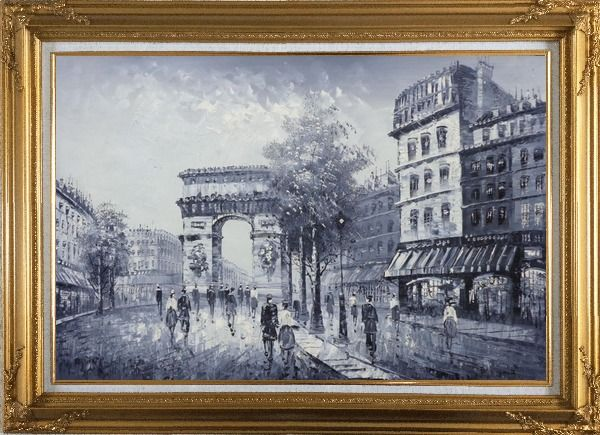 Framed Black White Paris Street to Triumphal Arch Oil Painting Cityscape France Impressionism Gold Wood Frame with Deco Corners 31 x 43 Inches