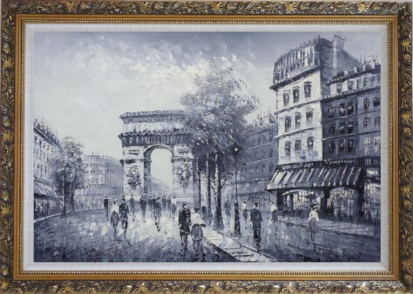 Framed Black White Paris Street to Triumphal Arch Oil Painting Cityscape France Impressionism Ornate Antique Dark Gold Wood Frame 30 x 42 Inches