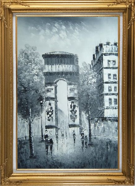 Framed Paris, Champs-Elysees, Arc de Triumph Oil Painting Black White Cityscape Impressionism Gold Wood Frame with Deco Corners 43 x 31 Inches