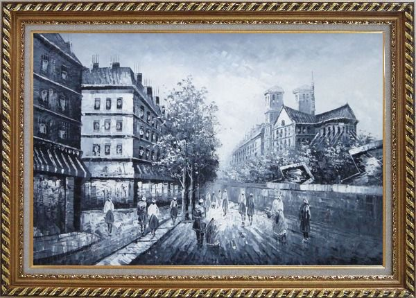 Framed Black and White Paris Street with Notre Dame de Paris Oil Painting Cityscape Impressionism Exquisite Gold Wood Frame 30 x 42 Inches