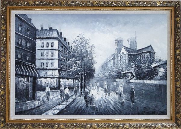 Framed Black and White Paris Street with Notre Dame de Paris Oil Painting Cityscape Impressionism Ornate Antique Dark Gold Wood Frame 30 x 42 Inches
