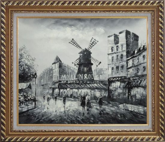 Framed Moulin Rouge in Black and White Oil Painting Cityscape Impressionism Exquisite Gold Wood Frame 26 x 30 Inches
