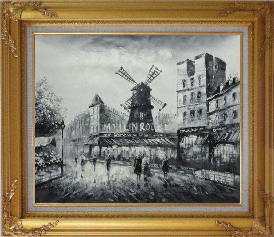 Framed Moulin Rouge in Black and White Oil Painting Cityscape Impressionism Gold Wood Frame with Deco Corners 27 x 31 Inches