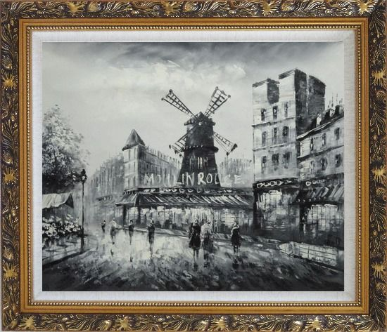 Framed Moulin Rouge in Black and White Oil Painting Cityscape Impressionism Ornate Antique Dark Gold Wood Frame 26 x 30 Inches