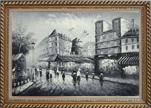Framed Moulin Rouge in Black and White Oil Painting Cityscape Impressionism Exquisite Gold Wood Frame 30 x 42 Inches