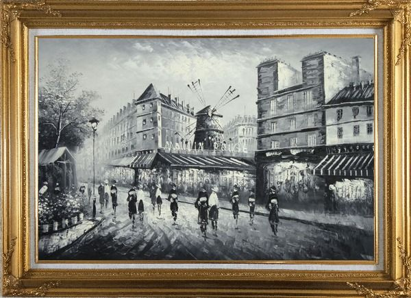 Framed Moulin Rouge in Black and White Oil Painting Cityscape Impressionism Gold Wood Frame with Deco Corners 31 x 43 Inches