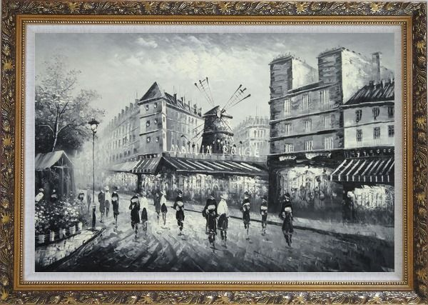 Framed Moulin Rouge in Black and White Oil Painting Cityscape Impressionism Ornate Antique Dark Gold Wood Frame 30 x 42 Inches