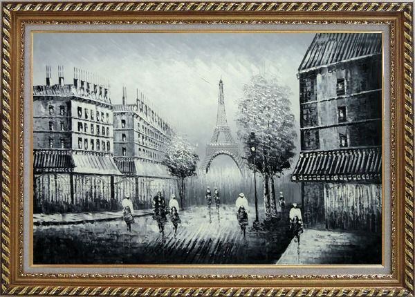 Framed People Crossing Eiffel Tower Oil Painting Black White Cityscape Impressionism Exquisite Gold Wood Frame 30 x 42 Inches