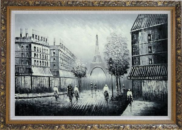 Framed People Crossing Eiffel Tower Oil Painting Black White Cityscape Impressionism Ornate Antique Dark Gold Wood Frame 30 x 42 Inches