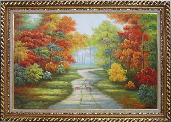 Framed Two Deer on Pathway Of Autumn Forest Oil Painting Landscape Tree Naturalism Exquisite Gold Wood Frame 30 x 42 Inches