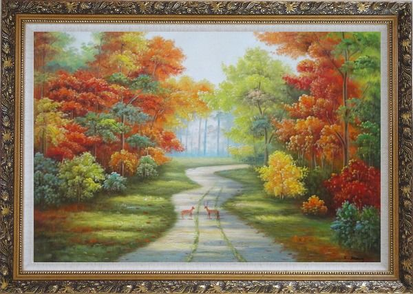 Framed Two Deer on Pathway Of Autumn Forest Oil Painting Landscape Tree Naturalism Ornate Antique Dark Gold Wood Frame 30 x 42 Inches