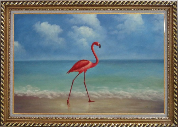 Framed  Lonely Red Flamingo Walk On Sand Beach Oil Painting Animal Bird Naturalism Exquisite Gold Wood Frame 30 x 42 Inches