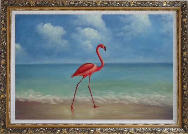 Framed  Lonely Red Flamingo Walk On Sand Beach Oil Painting Animal Bird Naturalism Ornate Antique Dark Gold Wood Frame 30 x 42 Inches