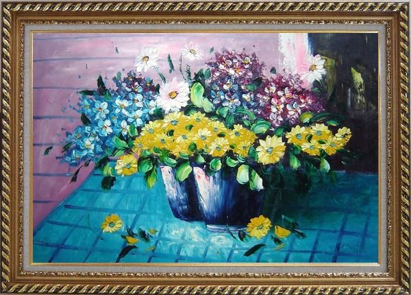 Framed Colorful Daisy Flowers in Vase Oil Painting Still Life Bouquet Naturalism Exquisite Gold Wood Frame 30 x 42 Inches