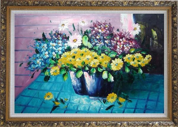 Framed Colorful Daisy Flowers in Vase Oil Painting Still Life Bouquet Naturalism Ornate Antique Dark Gold Wood Frame 30 x 42 Inches