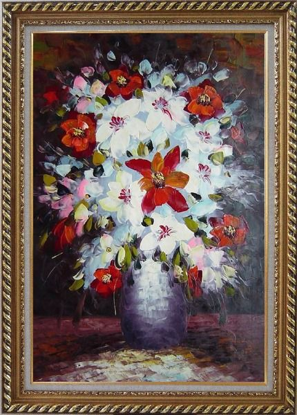 Framed Beautiful Red, White and Pink Daisy and Lily Flowers in Vase Oil Painting Still Life Bouquet Impressionism Exquisite Gold Wood Frame 42 x 30 Inches