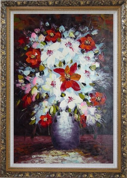 Framed Beautiful Red, White and Pink Daisy and Lily Flowers in Vase Oil Painting Still Life Bouquet Impressionism Ornate Antique Dark Gold Wood Frame 42 x 30 Inches