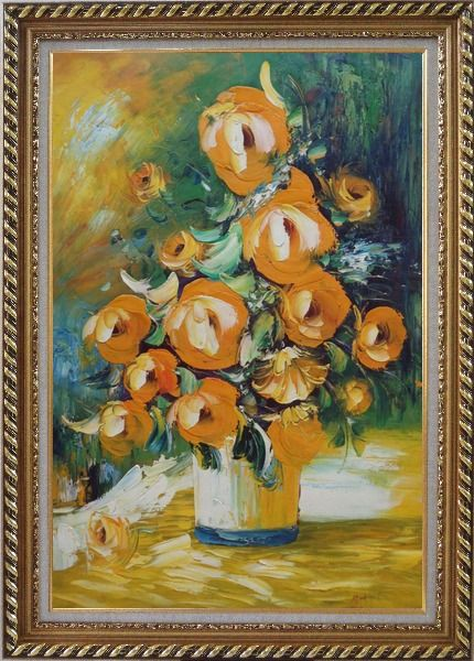 Framed Yellow Roses Still Life Painting Oil Flower Bouquet Impressionism Exquisite Gold Wood Frame 42 x 30 Inches