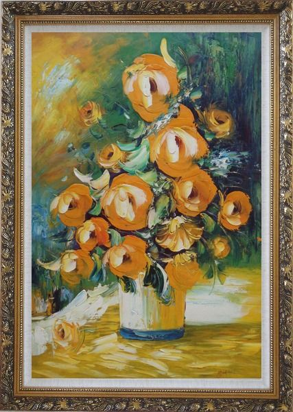 Framed Yellow Roses Still Life Painting Oil Flower Bouquet Impressionism Ornate Antique Dark Gold Wood Frame 42 x 30 Inches