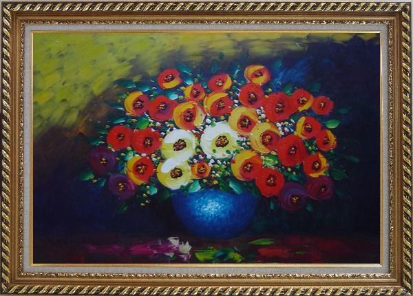 Framed Red, Yellow and Blue Flowers Painting Oil Still Life Bouquet Impressionism Exquisite Gold Wood Frame 30 x 42 Inches