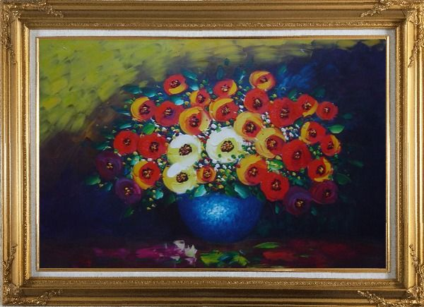 Framed Red, Yellow and Blue Flowers Painting Oil Still Life Bouquet Impressionism Gold Wood Frame with Deco Corners 31 x 43 Inches