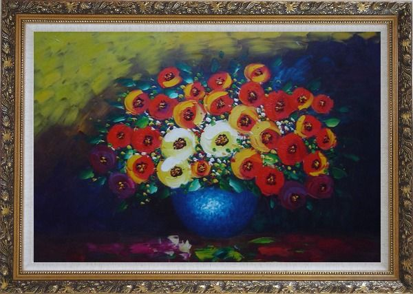 Framed Red, Yellow and Blue Flowers Painting Oil Still Life Bouquet Impressionism Ornate Antique Dark Gold Wood Frame 30 x 42 Inches