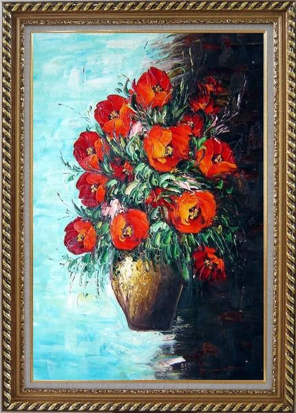 Framed Red Fire Roses in Vase, Light Blue Background Oil Painting Flower Still Life Bouquet Naturalism Exquisite Gold Wood Frame 42 x 30 Inches