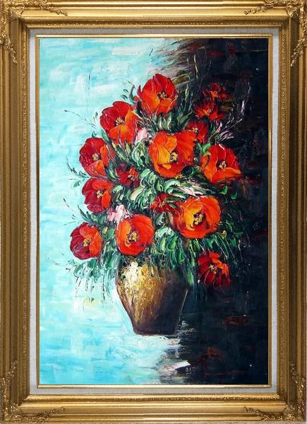 Framed Red Fire Roses in Vase, Light Blue Background Oil Painting Flower Still Life Bouquet Naturalism Gold Wood Frame with Deco Corners 43 x 31 Inches