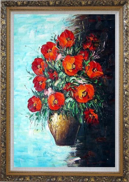 Framed Red Fire Roses in Vase, Light Blue Background Oil Painting Flower Still Life Bouquet Naturalism Ornate Antique Dark Gold Wood Frame 42 x 30 Inches