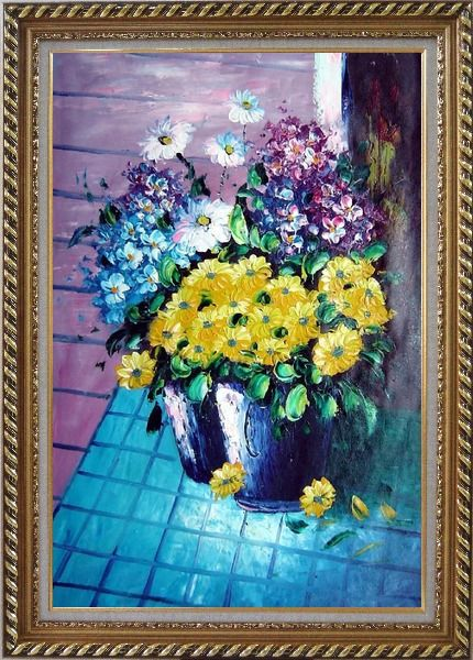 Framed Yellow, Blue, White, Purple Daisy and Chrysanthemum Oil Painting Flower Still Life Bouquet Naturalism Exquisite Gold Wood Frame 42 x 30 Inches