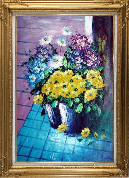 Framed Yellow, Blue, White, Purple Daisy and Chrysanthemum Oil Painting Flower Still Life Bouquet Naturalism Gold Wood Frame with Deco Corners 43 x 31 Inches