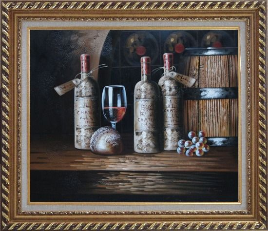 Framed Still Life of Wine Cask, Wine Bottles, And Wine Glass Oil Painting Fruit Classic Exquisite Gold Wood Frame 26 x 30 Inches