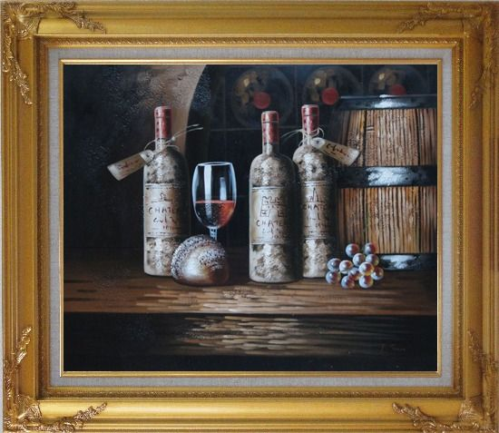 Framed Still Life of Wine Cask, Wine Bottles, And Wine Glass Oil Painting Fruit Classic Gold Wood Frame with Deco Corners 27 x 31 Inches