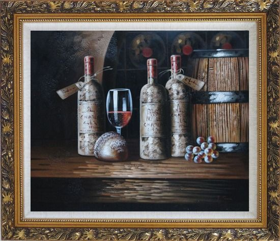 Framed Still Life of Wine Cask, Wine Bottles, And Wine Glass Oil Painting Fruit Classic Ornate Antique Dark Gold Wood Frame 26 x 30 Inches