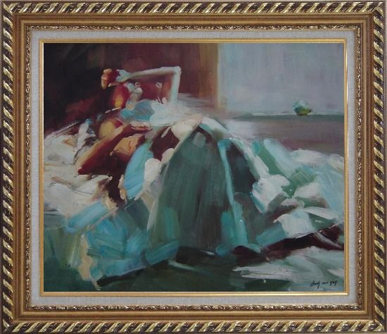 Framed Girl Takes a Nap Under Summer Sunshine Oil Painting Portraits Woman Impressionism Exquisite Gold Wood Frame 26 x 30 Inches