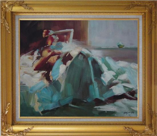 Framed Girl Takes a Nap Under Summer Sunshine Oil Painting Portraits Woman Impressionism Gold Wood Frame with Deco Corners 27 x 31 Inches