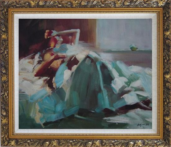 Framed Girl Takes a Nap Under Summer Sunshine Oil Painting Portraits Woman Impressionism Ornate Antique Dark Gold Wood Frame 26 x 30 Inches